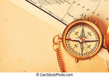 carte antique, vieux, sur, compas, laiton