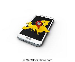 carte, aplication, europas, fond, blanc, 3d