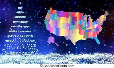 carte, arbre hiver, effet, neige, fond, shinning, noël