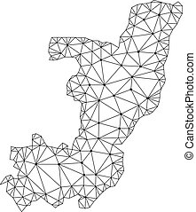carte, armature fil, maille, polygonal, vecteur, république, congo