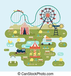 carte, attractions, cirque, parc, ou, amusement