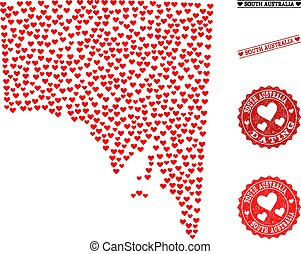carte, australie, amour, valentines, timbres, sud, grunge, mosaïque