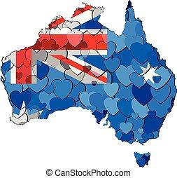 carte, australie, cœurs, fond, fait