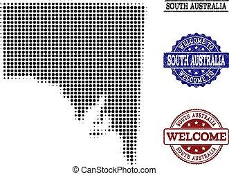 carte, australie, collage, accueil, halftone, textured, cachets, sud