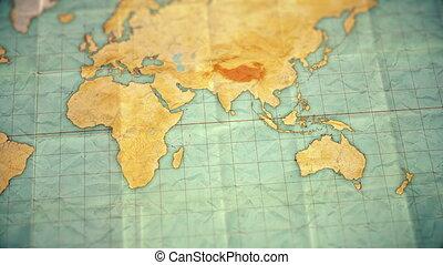 carte, australie, coloré, vendange, sépia, -, zoom, version...