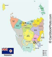 carte, australie, gouvernement, administratif, drapeau, politique, 29, tasmanie, local, secteurs