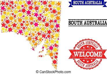 carte, australie, grunge, filigranes, sud, étoile, mosaïque