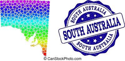 carte, australie, grunge, pointillé, timbre, spectre, cachet, sud