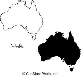carte, australie, silhouette, contour, -, isolé, illustration, main, lignes, vecteur, arrière-plan noir, dessiné, blanc