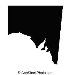 carte, australie, silhouette, sud