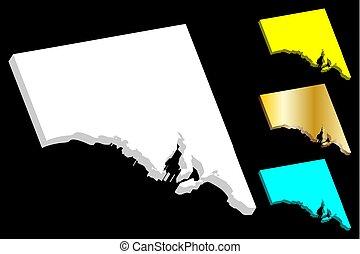 carte, australie, sud, 3d