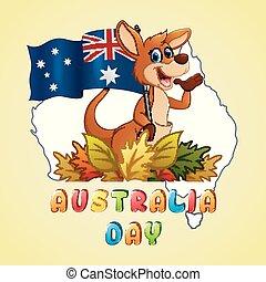 carte, australie, tenue, kangourou, drapeau, fond, jour, heureux