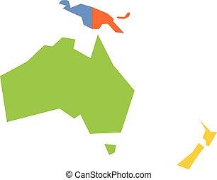 carte, australie, très, oceania., politique, illustration, simple, vecteur, simplifié, infographical, géométrique