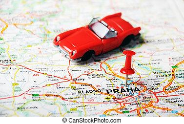 carte, auto, république, tchèque, prague