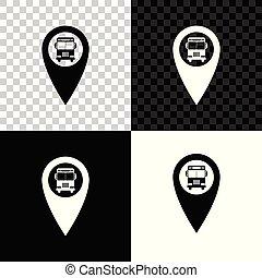 carte, autobus, isolé, illustration, arrière-plan., vecteur, noir, blanc, indicateur, transparent, icône