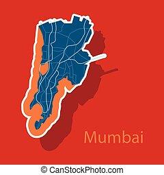 carte, autocollant, mumbai.