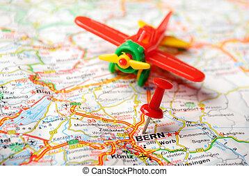 carte, avion, berne