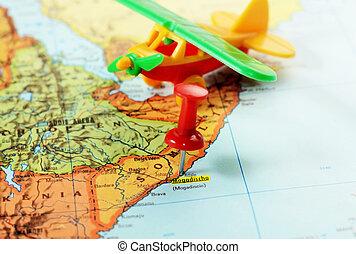 carte, avion, mogadishu, somalie, afrique