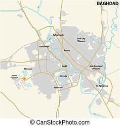 carte, bagdad, capital, route, irakien
