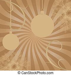 carte, balles, retro, décorations, noël