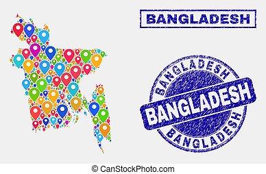 carte, bangladesh, timbre, cachets, epingles, mosaïque, détresse