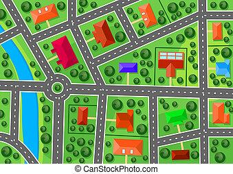 carte, banlieue