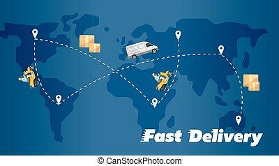 carte, banner., livraison rapide, itinéraires, mondiale