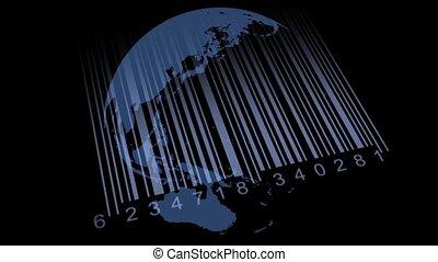 carte, barcode., sauver, la terre, mondiale
