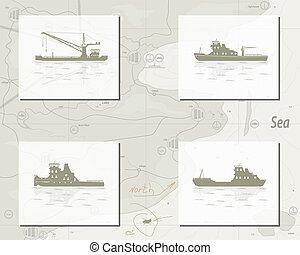 carte, bateaux