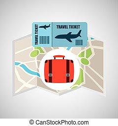 carte, billet, voyage, ligne aérienne, valise