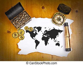 carte, binoculaire, trésor, compas, mondiale, pirate