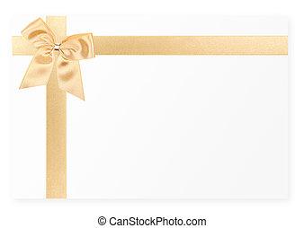 carte, blanc, cadeau, arc or