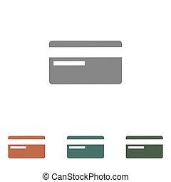 carte, blanc, icône, isolé, fond, crédit
