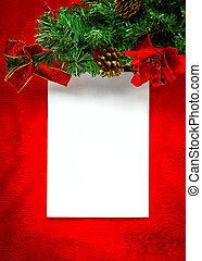 carte, blanc, papier, noël, rouges