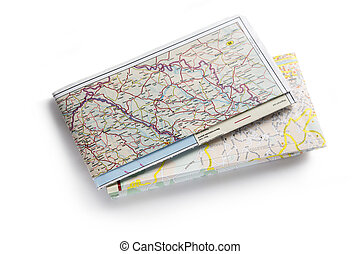 carte, blanc, route, fond
