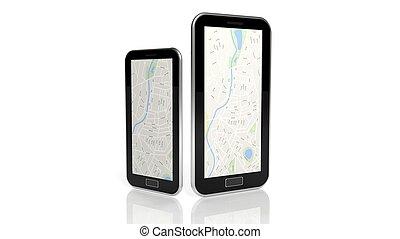 carte, blanc, smartphone, isolé, tablette