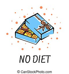carte, boîte, inscription, vecteur, blanc, non, diet., illustration, conception, chocolats, impression, ouvert, fond, clair