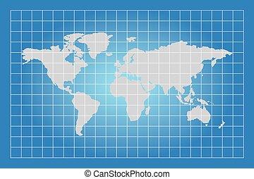 carte, boîtes, carré, mondiale