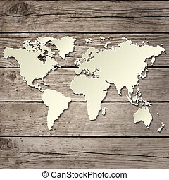 carte, bois, papier, vecteur, planche, mondiale