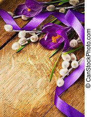 carte, bois, printemps, fond, vendange, fleurs, paques