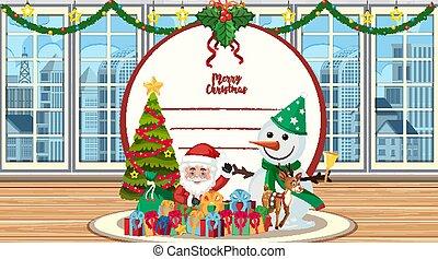 carte, bonhomme de neige, santa, noël