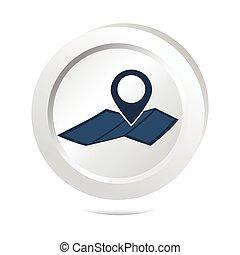 carte, bouton, emplacement, épingle, icône