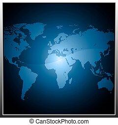 carte, bouton, la terre