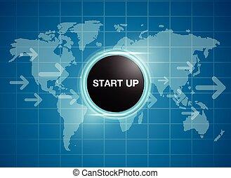 carte, boutonner, mondiale, début