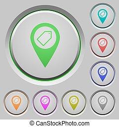 carte, boutons, emplacement, poussée, étiquetage, gps
