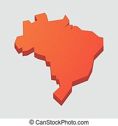 carte, brésil, rouges