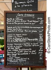 Carte Brasserie - Sign outside a brasserie in France telling...