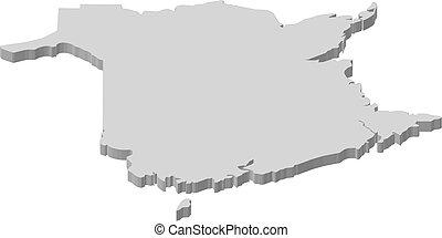 carte, brunswick, -, 3d-illustration, nouveau, (canada)