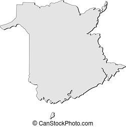 carte, brunswick, (canada), -, nouveau