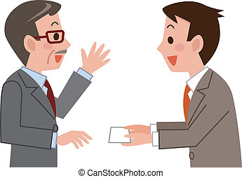 carte, business, échange